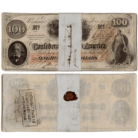 Pack of 30 T-41 1862 $100 Confederate States of America (C.S.A.) Notes ~ Crisp Very Fine to XF/AU