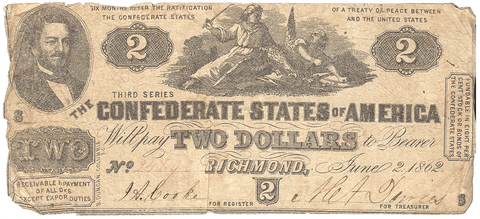 T-42 Jun. 2 1862 $2 Confederate States of America (C.S.A.) - Very Good