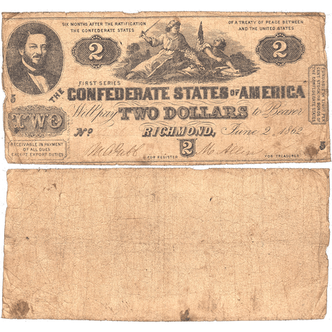 T-42 Jun. 2 1862 $2 Confederate States of America (C.S.A.) PF-3/Cr. 336 - Very Good+