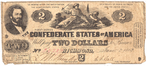 T-42 Jun. 2 1862 $2 Confederate States of America (C.S.A.) PF-2/Cr.355 - Fine