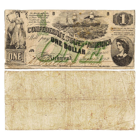 T-45 Jun. 2 1862 $1 Confederate States of America (C.S.A.) PF-2/Cr.342 - Very Good+