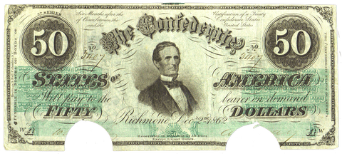 T-50 Dec. 2 1862 $50 Confederate States of America (C.S.A.) PF-11/Cr.357 ~ Choice Very Fine COC