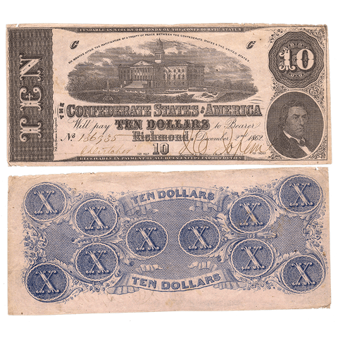 T-52 Dec. 2 1862 $10 Confederate States of America (C.S.A.) PF-2/Cr.376 - Fine