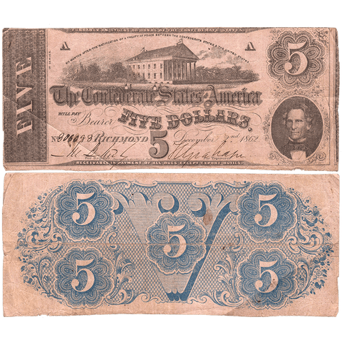 T-53 Dec. 2 1862 $5 Confederate States of America (C.S.A.) PF-9/Cr.379 - Fine