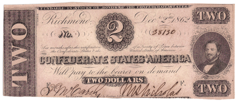 T-54 Dec. 2 1862 $2 Confederate States of America (C.S.A.) PF-11/Cr.392 ~ Crisp Uncirculated