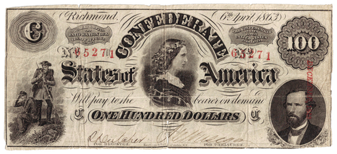 T-56 Apr. 6 1863 $100 Confederate States of America (C.S.A.) PF-3/Cr.402 ~ Net Fine