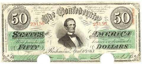 T-57 Apr. 6 1863 $50 Confederate States of America (C.S.A.) PF-3/Cr.408 ~ XF COC
