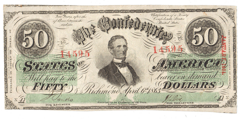 T-57 Apr. 6 1863 $50 Confederate States of America (C.S.A.) PF-6/Cr.411 - VF/XF Cut Canceled