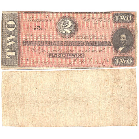 T-61 Apr. 6 1863 $2 Confederate States of America (C.S.A.) PF-8/Cr.472 ~ Fine