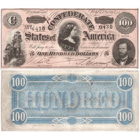 T-65 Feb. 17 1864 $100 Confederate States of America (C.S.A.) PF-3/Cr.494 ~ About Uncirculated+