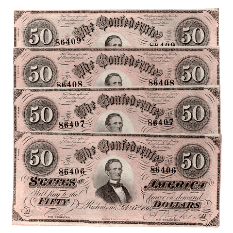 Four Consecutive T-66 1864 $50 Confederate States of America Notes - XF/AU