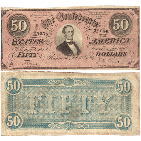 T-66 Feb. 17 1864 $50 Confederate States of America (C.S.A.) PF-1/Cr.495 - Crisp Fine/Very Fine