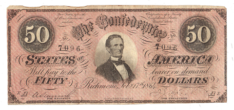 T-66 Feb. 17 1864 $50 Confederate States of America (C.S.A.) PF-1/Cr.495 - Very Fine
