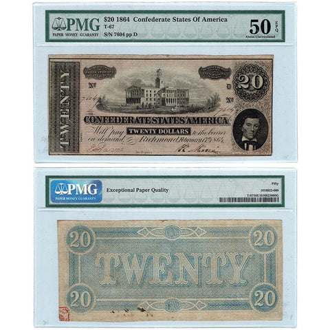 T-67 February 17th, 1864 $20 Confederate States of America Note - PMG AU 50 EPQ