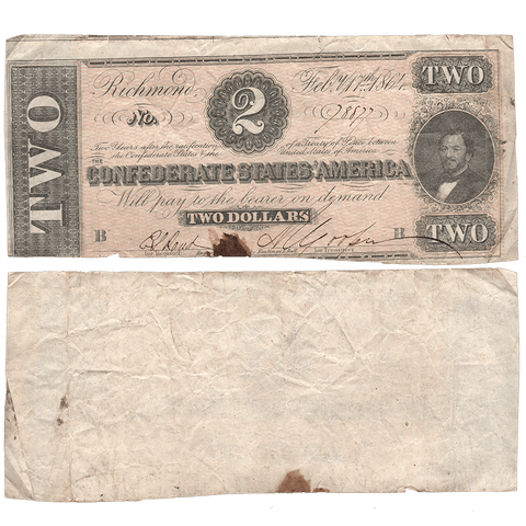 T-70 Feb. 17 1864 $2 Confederate States of America (C.S.A.) PF-5/Cr.567 - Crisp Very Fine
