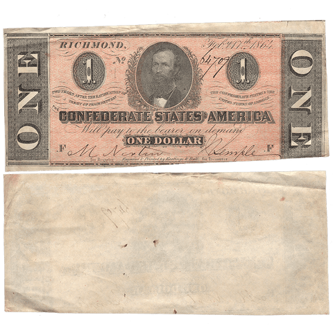 T-71 Feb. 17 1864 $1 Confederate States of America (C.S.A.) PF-4/Cr.577 - Crisp Very Fine