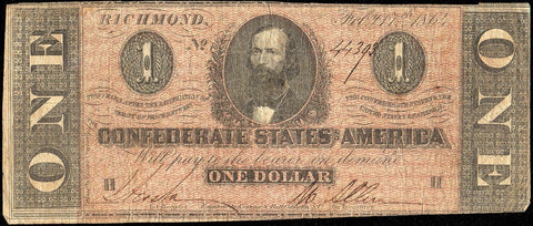 T-71 Feb. 17 1864 $1 Confederate States of America (C.S.A.) PF-1/Cr.576 - Very Good+