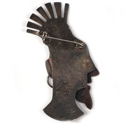 Manuel Pedro Ortiz Taxco Mexico Sterling Silver Tribal Brooch