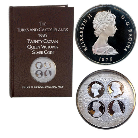 1976 Turks and Caicos Islands Queen Victoria Twenty Crown Silver Coin w/ Book