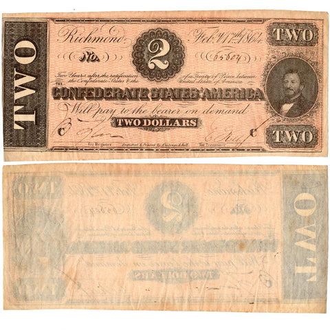 T-70 Feb. 17 1864 $2 Confederate States of America (C.S.A.)  - Extremely Fine