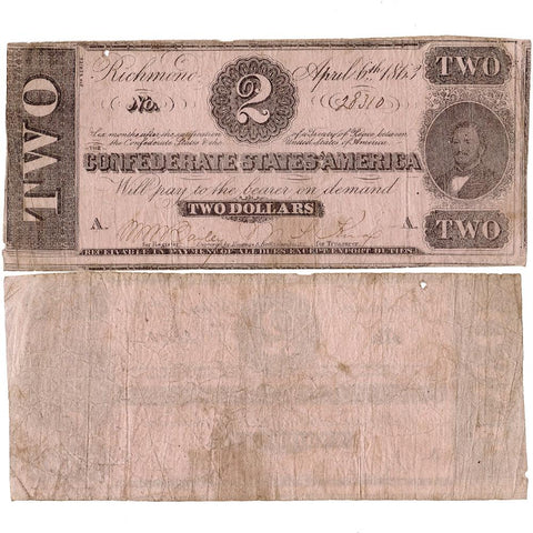 T-61 Apr. 6 1863 $1 Confederate States of America (C.S.A.) PF-1/Cr.470 ~ Very Good
