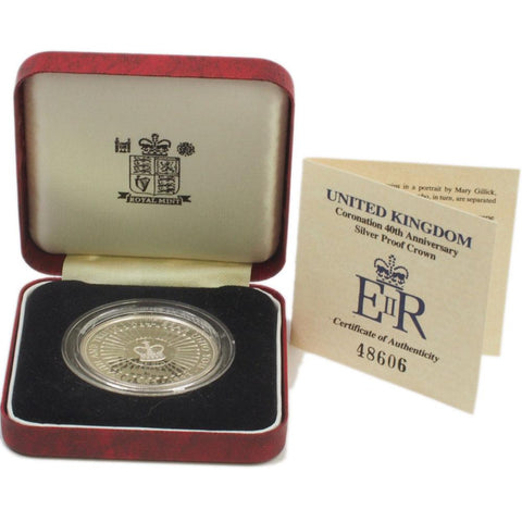 1993 United Kingdom Coronation 40th Anniversary Silver Proof Crown - Gem Proof in OGP