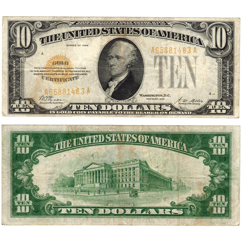 1928 $10 Small-Size Gold Certificate Fr. 2400 - Very Fine