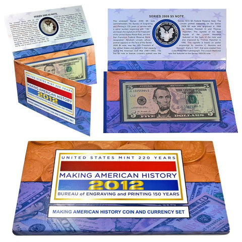 2012 U.S. Mint 220 Years  Making American History Coin & Currency Set