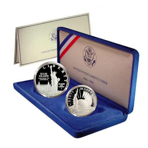 1986 United States Liberty Commemorative Proof Silver Dollar & Clad Half Dollar w/Mint Box & COA