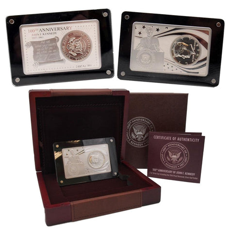 100th Anniversary 2 oz Silver Bar & 64 Proof Kennedy Half Set