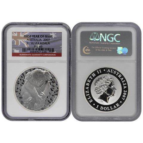 2007 Australia $1 Koala .999 Silver First Year of Issue - NGC - MS69