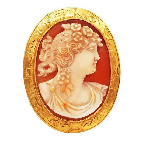 Edwardian 14K Gold Hand Carved Cameo Pendant