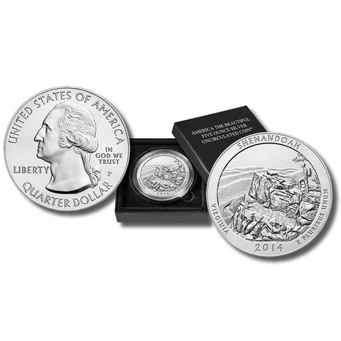 2014-P America The Beautiful Five Ounce Silver Virginia Shenandoah Uncirculated Coin w/ Box & C.O.A.