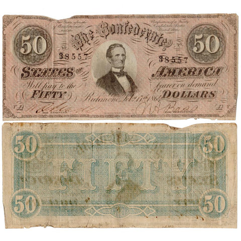 T-66 Feb. 17th,1864 $50 Confederate States of America Notes Deal - VG/F