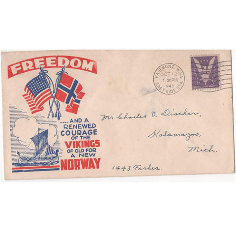 "1943 ""Freedom and a Renewed Courage of the Vikings of Old for a New Norway"" WW2 Patriotic Cover"