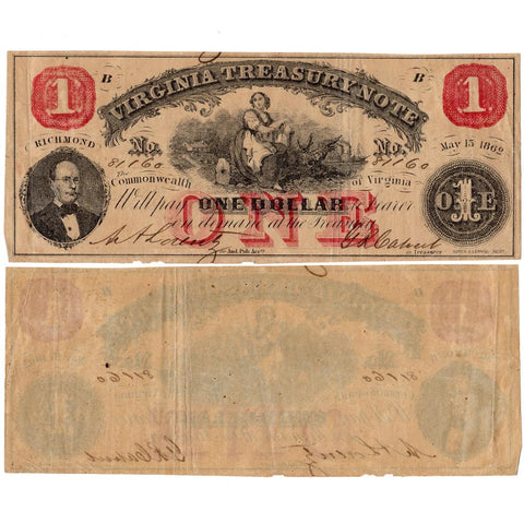 1862 $1 Virginia Treasury Notes Deal  ~ Fine/Very Fine or Better