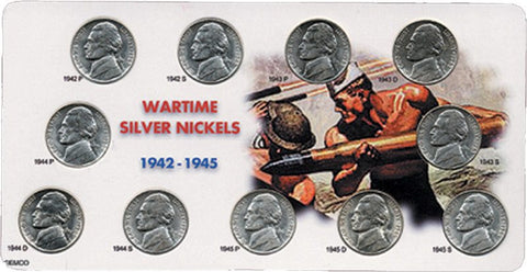 "World War II ""Wartime"" Jefferson Nickel Sets - 1942 to 1945 P-D-S"