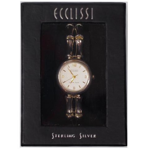 Ecclissi Womens Sterling Silver Bamboo Link Wrist Watch