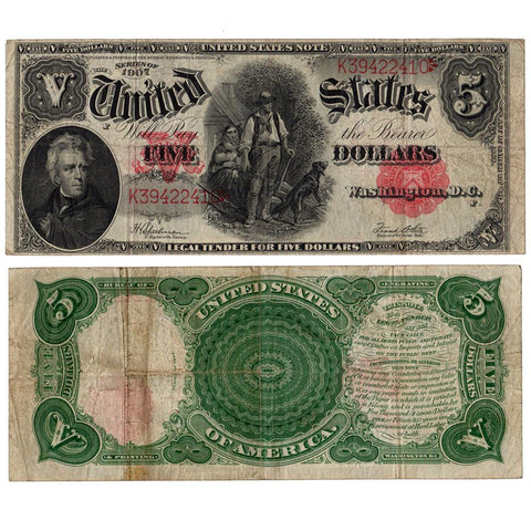 "1907 $5 Legal Tender ""Woodchopper"" (Fr.91) - Very Fine"
