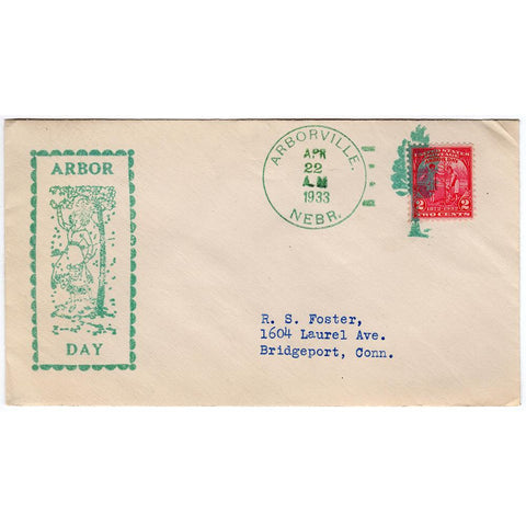 Apr 22, 1933 Arbor Day Cover with Fancy Arborville, Nebr. Cancel