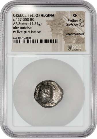 Ancient Greek - Saronic Islands, Aegina AR Stater, c. 457-350 BC, NGC XF (4/2)