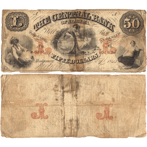 1855 $50 Central Bank of Alabama Montgomery AL-65-G20a - Apparent VG