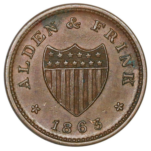 1863 Alden & Frink, Cohoes NY Civil War Token Fuld-NY-140A-2a - XF