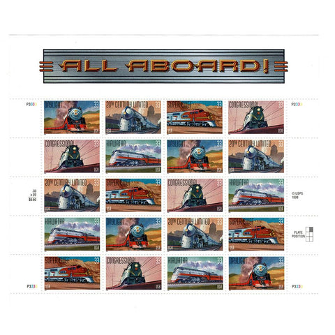 1999 33c Scott #3333-37 All Aboard Sheet (20) MNH