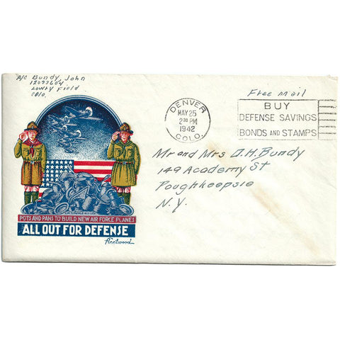May 25, 1942 All Out For Defense Patriotic Cover Includes Letter to Mom & Dad