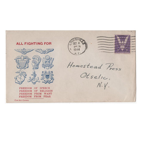 "Oct. 4, 1944 ""All Fighting For Freedom"" WW2 Patriotic Cover"