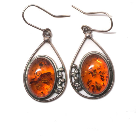 Vintage Russian Hallmarked Baltic Amber Sterling Silver Earrings