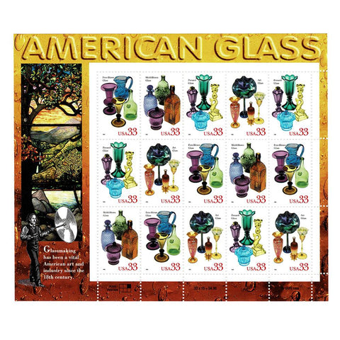 1999 33c Scott #3325-28 American Glass Sheet (15) MNH