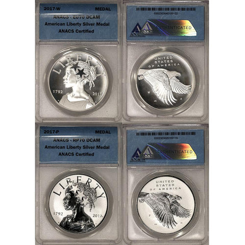 2017 P & W American Liberty 225th Anniversary 1 oz Silver Medals - ANACS 70