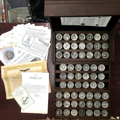 Longines Complete Set of 60 Great American Triumphs Commemorative Sterling Silver Medals